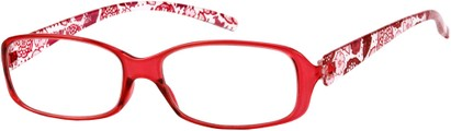 Angle of The Kendra Flexible Reader in Red, Women's Rectangle Reading Glasses