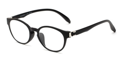 Angle of The Graduate in Black, Women's and Men's Round Reading Glasses