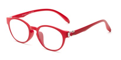 Angle of The Graduate in Red, Women's and Men's Round Reading Glasses