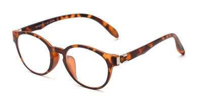 Angle of The Graduate in Tortoise, Women's and Men's Round Reading Glasses