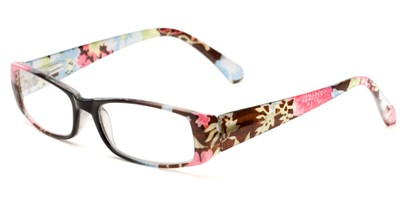 Angle of The Tess in Black and Blue Floral Frame, Women's Rectangle Reading Glasses