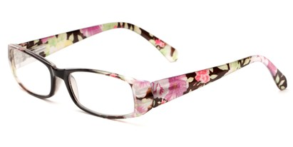 Angle of The Tess in Black and Green Floral Frame, Women's Rectangle Reading Glasses