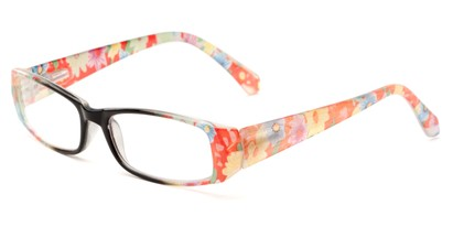 Angle of The Tess in Black and Pink Floral Frame, Women's Rectangle Reading Glasses