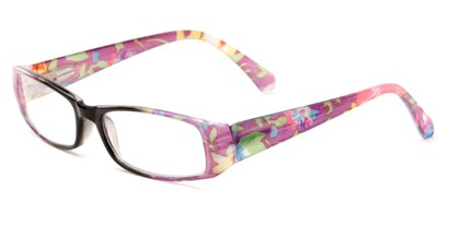 Angle of The Tess in Black and Purple Floral Frame, Women's Rectangle Reading Glasses