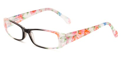 Angle of The Tess in Black and White Floral Frame, Women's Rectangle Reading Glasses