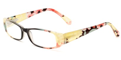 Angle of The Tess in Black and Yellow Floral Frame, Women's Rectangle Reading Glasses
