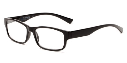 Angle of The Timmy in Black, Women's and Men's Rectangle Reading Glasses