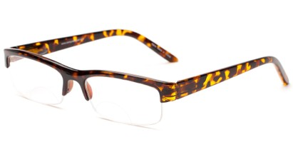 Angle of The Tucson Dual Power Computer Reader in Tortoise, Women's and Men's Browline Reading Glasses