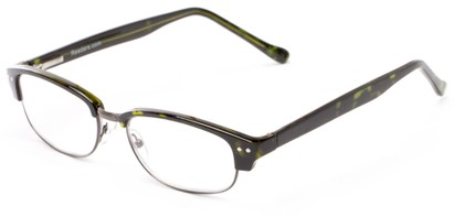 Angle of The Burton in Green Tortoise/Grey, Women's and Men's Browline Reading Glasses
