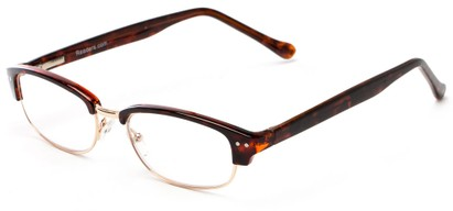 Angle of The Burton in Brown Tortoise/Gold, Women's and Men's Browline Reading Glasses