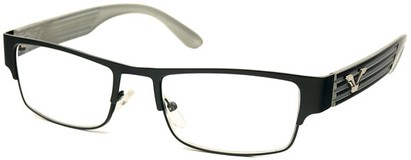 Angle of The Davenport in Black and White Frame, Women's and Men's Browline Reading Glasses