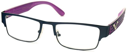 Angle of The Davenport in Dark Blue and Purple Frame, Women's and Men's Browline Reading Glasses