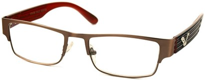 Angle of The Davenport in Bronze and Red Frame, Women's and Men's Browline Reading Glasses
