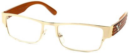Angle of The Davenport in Gold and Orange Frame, Women's and Men's Browline Reading Glasses