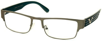 Angle of The Davenport in Grey and Blue Frame, Women's and Men's Browline Reading Glasses