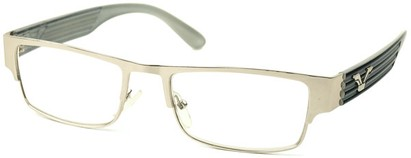 Angle of The Davenport in Silver and White Frame, Women's and Men's Browline Reading Glasses