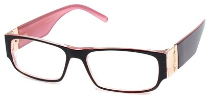 Angle of The Contemporary in Black and Pink, Women's and Men's Rectangle Reading Glasses