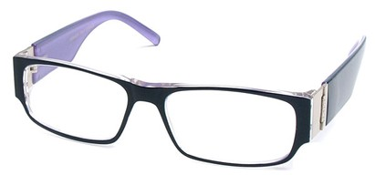 Angle of The Contemporary in Black and Purple, Women's and Men's Rectangle Reading Glasses