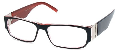 Angle of The Contemporary in Black and Red, Women's and Men's Rectangle Reading Glasses
