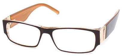Angle of The Contemporary in Brown and Orange, Women's and Men's Rectangle Reading Glasses