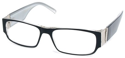 Angle of The Contemporary in Black and White, Women's and Men's Rectangle Reading Glasses