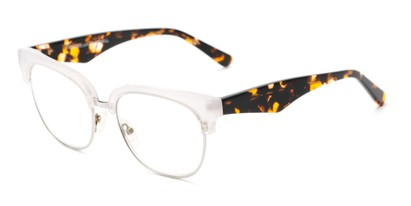 Angle of The Versailles Signature Reader in Clear/Tortoise, Women's Browline Reading Glasses