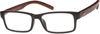 Angle of The Expedition Recycled Wood Reader in Glossy Black, Women's and Men's Rectangle Reading Glasses