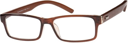 Angle of The Expedition Recycled Wood Reader in Glossy Brown, Women's and Men's Rectangle Reading Glasses