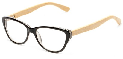 Angle of The Heather Recycled Bamboo Reader in Black with Tan Temples, Women's Cat Eye Reading Glasses
