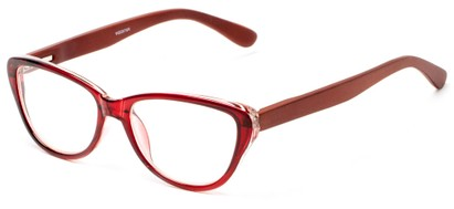 Angle of The Heather Recycled Bamboo Reader in Red with Brown Temples, Women's Cat Eye Reading Glasses