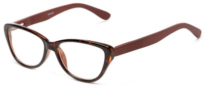 Angle of The Heather Recycled Bamboo Reader in Tortoise with Brown Temples, Women's Cat Eye Reading Glasses