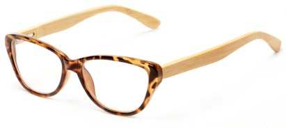 Angle of The Heather Recycled Bamboo Reader in Tortoise with Tan Temples, Women's Cat Eye Reading Glasses
