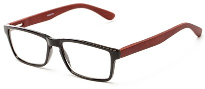Angle of The Palo Alto Recycled Bamboo Reader in Black with Brown Temples, Women's and Men's Rectangle Reading Glasses