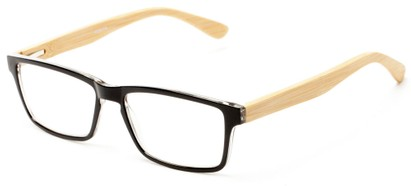 Angle of The Palo Alto Recycled Bamboo Reader in Black with Tan Temples, Women's and Men's Rectangle Reading Glasses