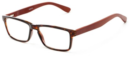Angle of The Palo Alto Recycled Bamboo Reader in Tortoise with Brown Temples, Women's and Men's Rectangle Reading Glasses