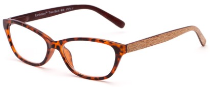 Angle of The Talulah Recycled Bark Reader in Brown Tortoise, Women's Cat Eye Reading Glasses