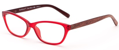 Angle of The Talulah Recycled Bark Reader in Red, Women's Cat Eye Reading Glasses