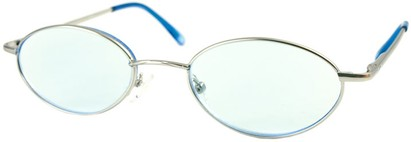 Angle of The Carver Tinted Reader in Silver with Light Blue Lenses, Women's and Men's