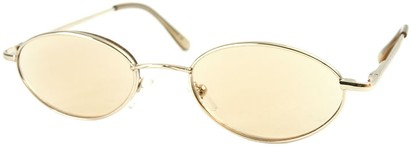 Angle of The Carver Tinted Reader in Gold with Light Amber Lenses, Women's and Men's