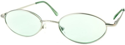 Angle of The Carver Tinted Reader in Silver with Light Green Lenses, Women's and Men's