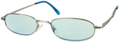 Angle of The Bellevue Tinted Reader in Silver with Blue Lenses, Women's and Men's