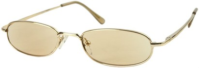 Angle of The Bellevue Tinted Reader in Gold with Light Amber Lenses, Women's and Men's