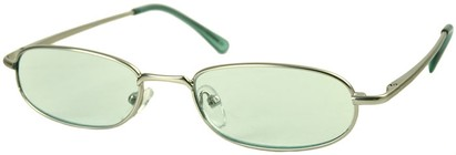 Angle of The Bellevue Tinted Reader in Silver with Green Lenses, Women's and Men's