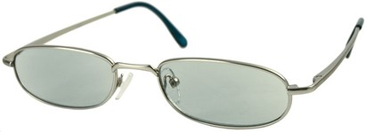 Angle of The Bellevue Tinted Reader in Silver with Teal Lenses, Women's and Men's