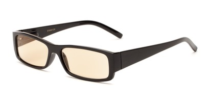 Angle of The Womack Computer Reader in Black with Yellow, Women's and Men's Rectangle Reading Glasses