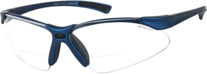 Angle of X Power Bifocal Safety Glasses with Interchangeable Lenses in Matte Blue, Women's and Men's