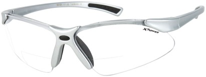 Angle of X Power Bifocal Safety Glasses with Interchangeable Lenses in Matte Silver, Women's and Men's