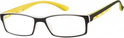 Angle of The Zionsville in Yellow, Women's and Men's Rectangle Reading Glasses