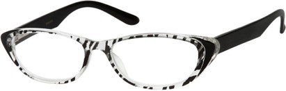 Angle of The Dolly in Clear/Black Zebra, Women's and Men's