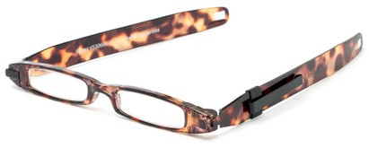 Angle of The Twistable Folding Reader  in Brown Tortoise, Women's and Men's Retro Square Reading Glasses